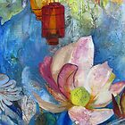 Buddha III: detail of lotus flower and lantern from original mixed media painting by Alyshia Hansen