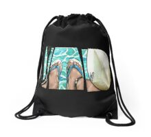 The Swimmer - White Drawstring Bag