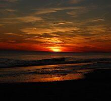 Holden Beach Sunset Wave by William Herpel