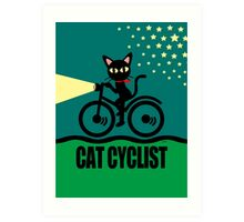 Cat Cyclist Art Print