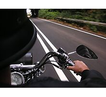 white lines, harley on the road, uk Photographic Print