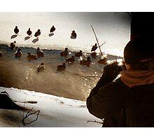 Aaron Photographing Ducks Photographic Print
