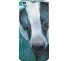 Badger in the bluebell woods iPhone Case/Skin