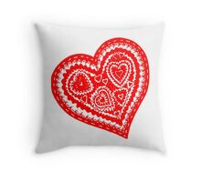 Valentine Heart 10 Red  Throw Pillow