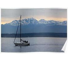 Sailing Before an Olympic Mountain Sunset Poster