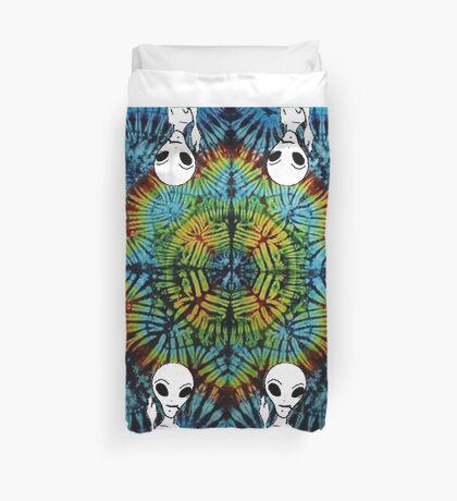 Tie Dye Alien Salute Duvet Cover