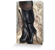 Riding crop and boots Greeting Card