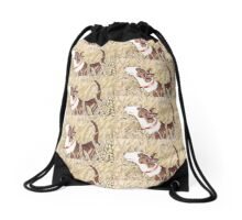 Bull Terrier in the corn field Drawstring Bag