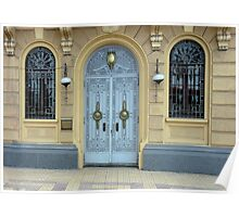 Arched Blue Door and Windows Poster