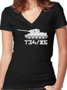 T34-85 Women's Fitted V-Neck T-Shirt