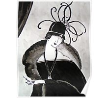 """*Ritzy"" Roaring Twenties Lady with cloche Poster"