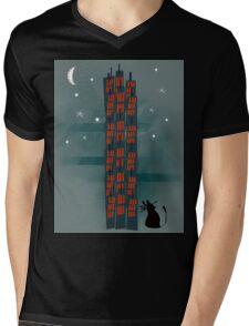 Urban Cat Mens V-Neck T-Shirt