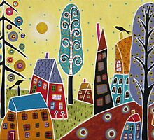 Houses Trees Sun Landscape by karlagerard