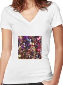 Flower colors 01 Women's Fitted V-Neck T-Shirt