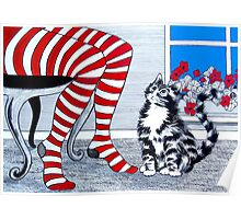 Tabby Cat and Striped Stockings Poster