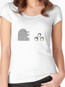 Elephants & Penguins love bubbles. Women's Fitted Scoop T-Shirt