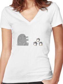 Elephants & Penguins love bubbles. Women's Fitted V-Neck T-Shirt
