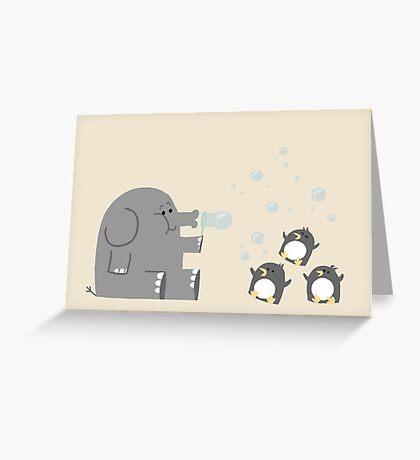 Elephants & Penguins love bubbles. Greeting Card
