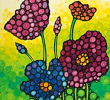 Summer Garden - Colorful Abstract Floral Art Print Flowers by Sharon Cummings
