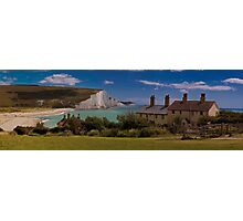 Coastguard Cottages and the Seven Sisters, England Photographic Print
