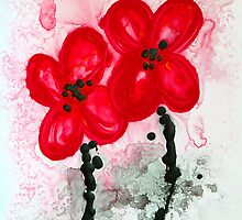 Red Asian Poppies by Sharon Cummings