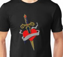 Tattoo vintage old school inspired dagger and heart Unisex T-Shirt