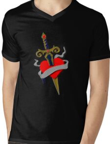 Tattoo vintage old school inspired dagger and heart Mens V-Neck T-Shirt