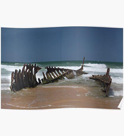Shipwreck of SS Dicky, Dicky Beach, Caloundra Poster