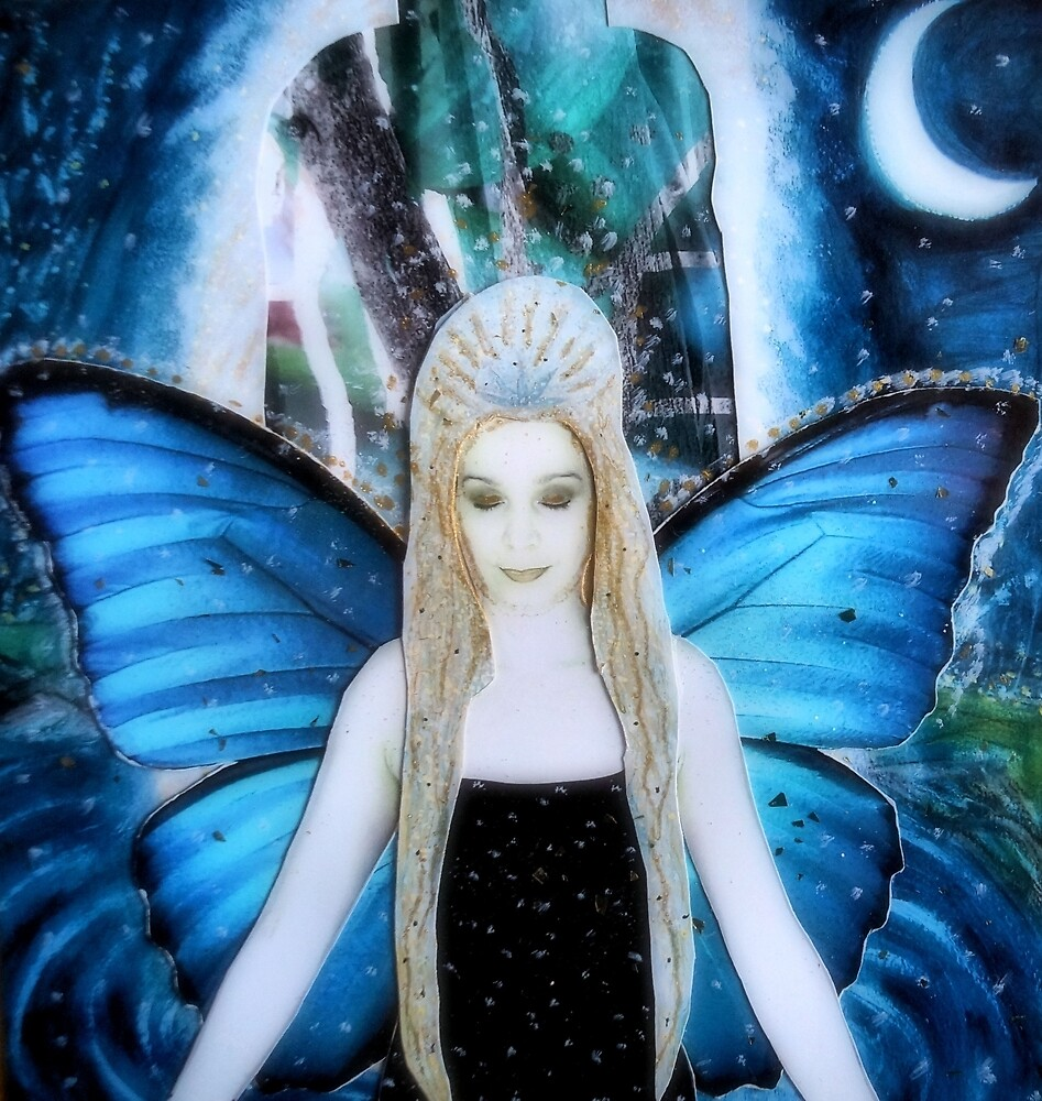 butterfly fairy at night by Lilaviolet
