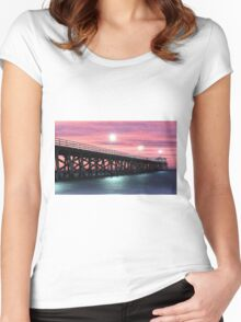 Grange Jetty: A fire in the sky Women's Fitted Scoop T-Shirt