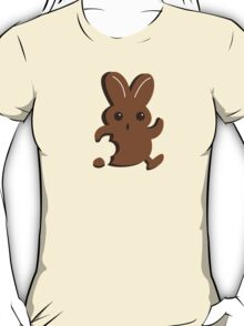 Running chocolate Easter bunny with a bite taken out T-Shirt