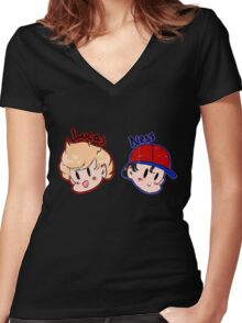 Ness and Lucas! Women's Fitted V-Neck T-Shirt