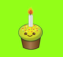 cute Kawaii Cupcake Birthday with a candle by jazzydevil