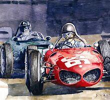 1961 Monaco GP #36 Ferrari 156 Ginther  #18 BRM Climax P48 G Hill by Yuriy Shevchuk