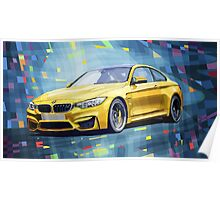 BMW M4 Blue Poster
