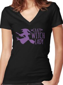 Crazy Witch Lady  Women's Fitted V-Neck T-Shirt