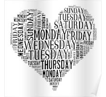 7 DAYS OF SUMMER- –TEXT LOVE HEART BLACK Poster