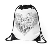 7 DAYS OF SUMMER- –TEXT LOVE HEART BLACK Drawstring Bag