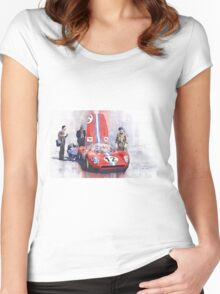 Ferrari 206 SP Dino 1966 Nurburgring Pit Stop Women's Fitted Scoop T-Shirt