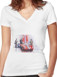 Ferrari 206 SP Dino 1966 Nurburgring Pit Stop Women's Fitted V-Neck T-Shirt