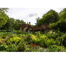 English Cottage Gardens - Summer Green in Watercolor Photographic Print