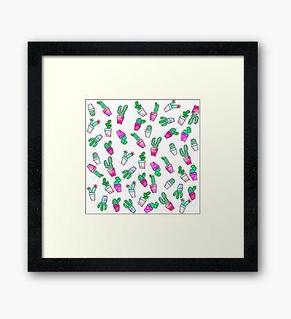 Cute pink green watercolour trendy cactus pattern  Framed Print