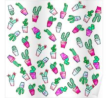 Cute pink green watercolour trendy cactus pattern  Poster