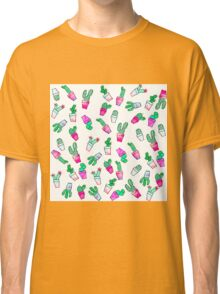 Cute pink green watercolour trendy cactus pattern  Classic T-Shirt
