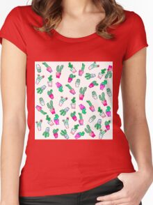 Cute pink green watercolour trendy cactus pattern  Women's Fitted Scoop T-Shirt