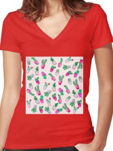 Cute pink green watercolour trendy cactus pattern  Women's Fitted V-Neck T-Shirt