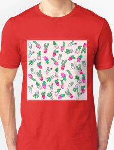 Cute pink green watercolour trendy cactus pattern  Unisex T-Shirt