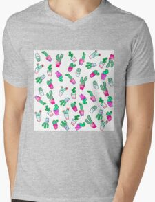 Cute pink green watercolour trendy cactus pattern  Mens V-Neck T-Shirt