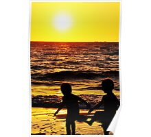 Playmates at Sunset Poster