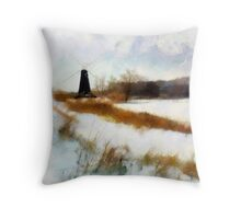 Windmill In The Snow'... Throw Pillow